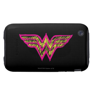 Wonder Woman Colorful Pink and Yellow Logo Tough iPhone 3 Cases