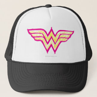 Wonder Woman Colorful Pink and Yellow Logo Trucker Hat