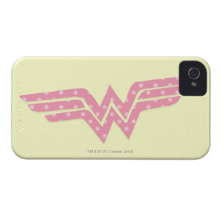 Wonder Woman Colorful Pink Floral Logo iPhone 4 Case-Mate Cases