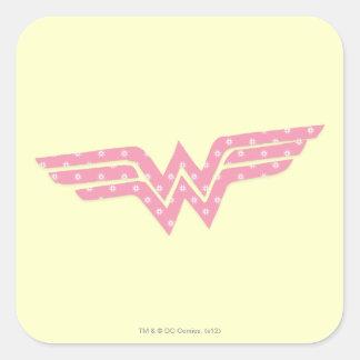 Wonder Woman Colorful Pink Floral Logo Square Sticker