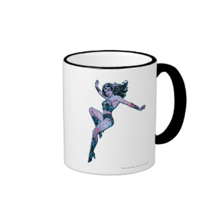 Wonder Woman Colorful Pose Ringer Mug