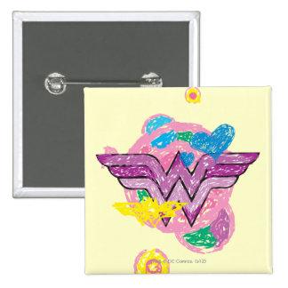 Wonder Woman Colorful Scribbles 15 Cm Square Badge