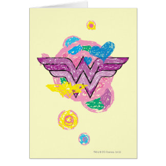 Wonder Woman Colorful Scribbles Card