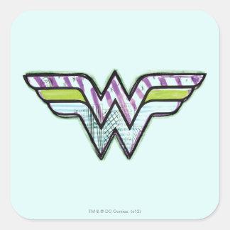 Wonder Woman Colorful Sketch Logo Square Stickers