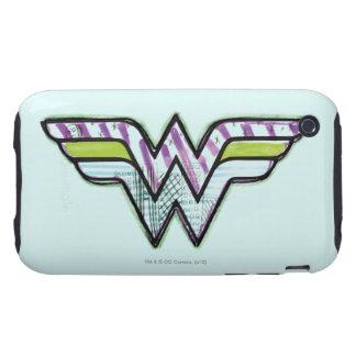 Wonder Woman Colorful Sketch Logo Tough iPhone 3 Cases