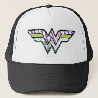 Wonder Woman Colorful Sketch Logo Trucker Hat