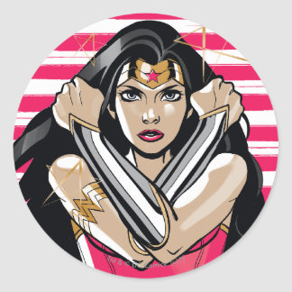Wonder Woman Defend - Template Classic Round Sticker