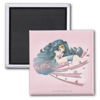 Wonder Woman Dolphin and Stripes Square Magnet