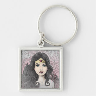 Wonder Woman Eagle and Trees Silver-Colored Square Key Ring