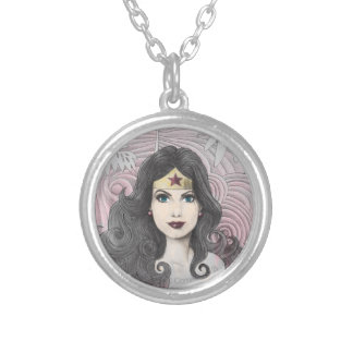 Wonder Woman Eagle and Trees Silver Plated Necklace