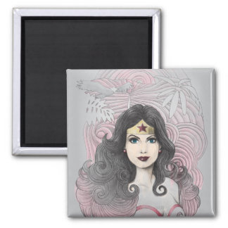 Wonder Woman Eagle and Trees Square Magnet