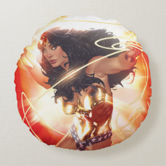 Wonder Woman Encyclopedia Cover Round Cushion
