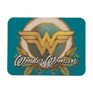 Wonder Woman Foliage Sketch Logo Rectangular Photo Magnet