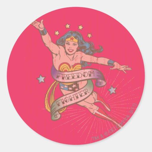 Wonder Woman Freedom Fighter Round Stickers