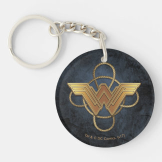 Wonder Woman Gold Symbol Over Lasso Key Ring