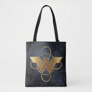 Wonder Woman Gold Symbol Over Lasso Tote Bag