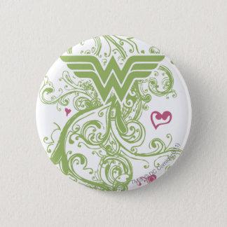 Wonder Woman Green Swirls Logo 6 Cm Round Badge