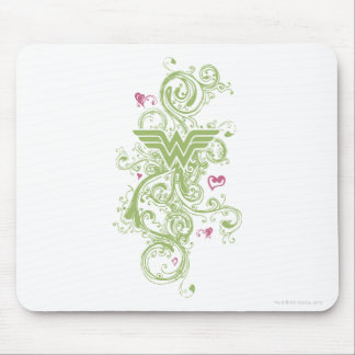 Wonder Woman Green Swirls Logo Mouse Mat