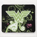 Wonder Woman Green Swirls Logo Mouse Pad