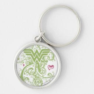 Wonder Woman Green Swirls Logo Silver-Colored Round Key Ring