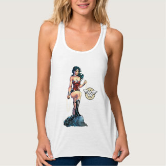 Wonder Woman Gripping Lasso Atop Rock Tank Top