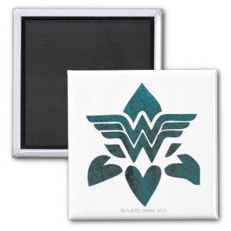 Wonder Woman Grunge Logo Square Magnet