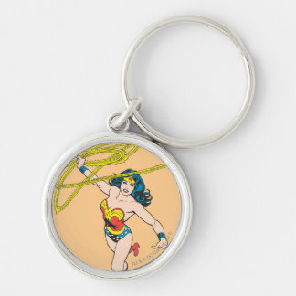 Wonder Woman Holds Lasso 2 Silver-Colored Round Key Ring