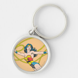 Wonder Woman Holds Lasso 4 Silver-Colored Round Key Ring