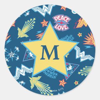 Wonder Woman Icons & Phrases Pattern | Monogram Classic Round Sticker