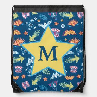 Wonder Woman Icons & Phrases Pattern   Monogram Drawstring Bag