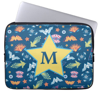 Wonder Woman Icons & Phrases Pattern | Monogram Laptop Sleeve