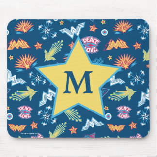 Wonder Woman Icons & Phrases Pattern | Monogram Mouse Mat