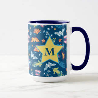 Wonder Woman Icons & Phrases Pattern   Monogram Mug