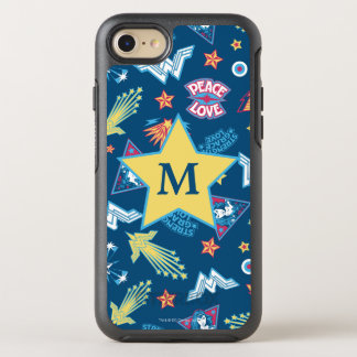Wonder Woman Icons & Phrases Pattern | Monogram OtterBox Symmetry iPhone 8/7 Case