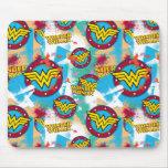 Wonder Woman Logo Collage 1 Mouse Pad