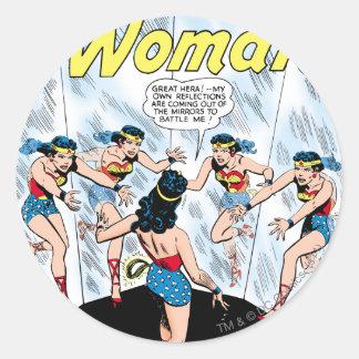 Wonder Woman Mennace of the Mirror Round Sticker