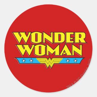 Wonder Woman Name and Logo Round Sticker
