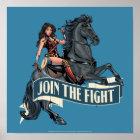 Wonder Woman on Horse Comic Art Poster