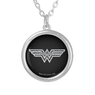 Wonder Woman Paisley Logo Silver Plated Necklace