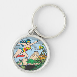 Wonder Woman Paradise Island Silver-Colored Round Key Ring