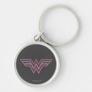 Wonder Woman Pink and Black Checker Mesh Logo Key Ring