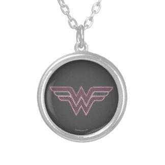 Wonder Woman Pink and Black Checker Mesh Logo Round Pendant Necklace