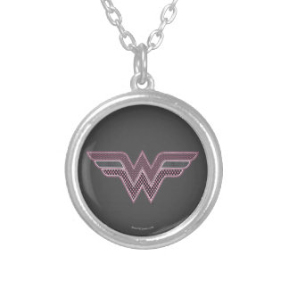 Wonder Woman Pink and Black Checker Mesh Logo Silver Plated Necklace