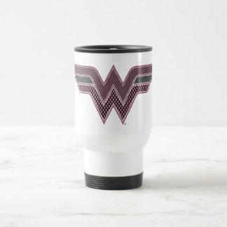 Wonder Woman Pink and Black Checker Mesh Logo Travel Mug