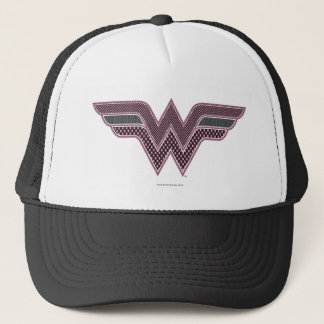 Wonder Woman Pink and Black Checker Mesh Logo Trucker Hat