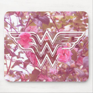 Wonder Woman Pink Camellia Flowers Logo Mouse Pad
