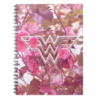 Wonder Woman Pink Camellia Flowers Logo Notebook
