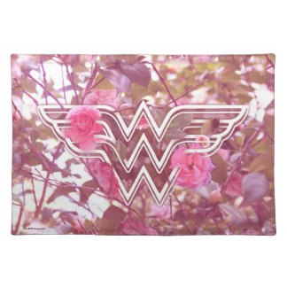 Wonder Woman Pink Camellia Flowers Logo Placemat