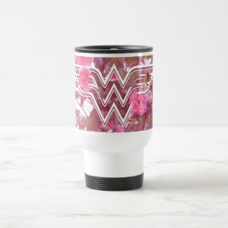 Wonder Woman Pink Camellia Flowers Logo Travel Mug