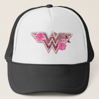 Wonder Woman Pink Camellia Flowers Logo Trucker Hat